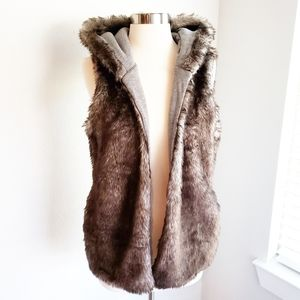 Justice Hooded Vest Plush Faux Fur Lined 16/18